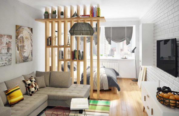 разделение комнаты на две зоны с помощью деревянной перегородки