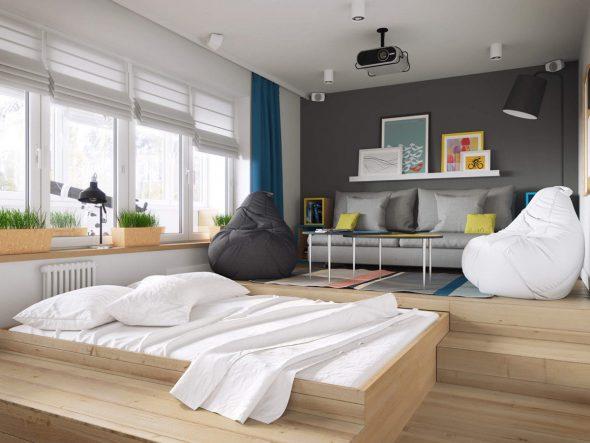 разделение комнаты на две зоны с помощью подиума