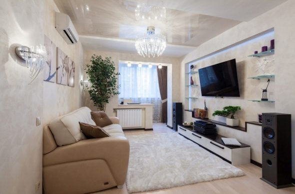 дизайн гостиной 3х6