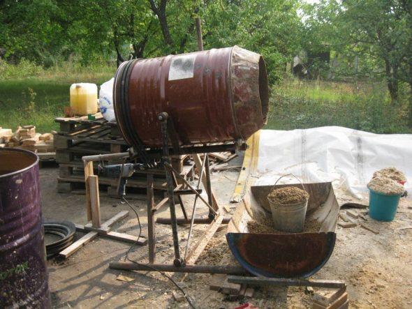 бетономешалка из бочки 200 литров