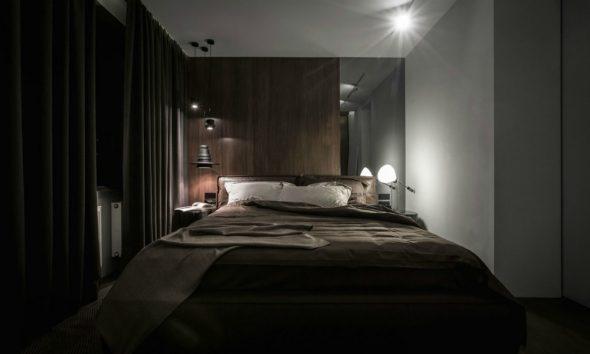 Спальня в тёмных тонах