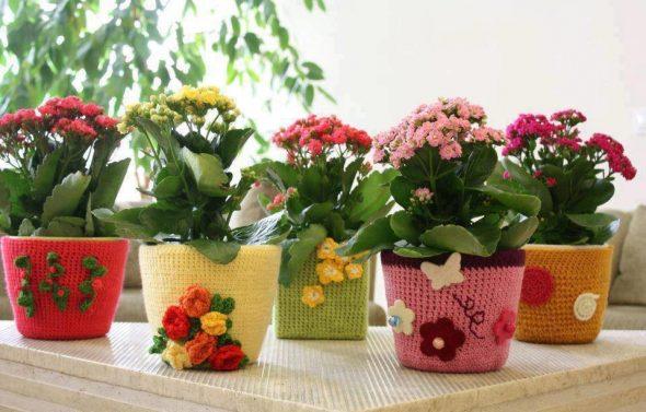 Цветочные горшки с вязаными чехлами