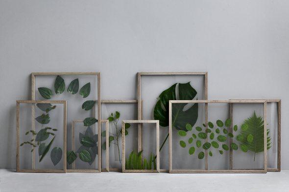 Декор из листьев на стене