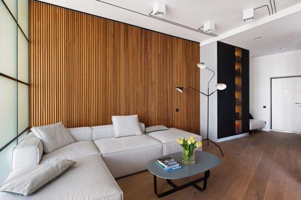 Деревянные рейки за диваном