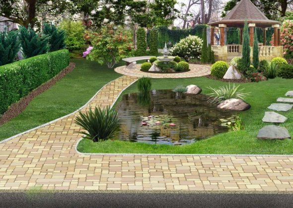 Мощённая садовая дорожка