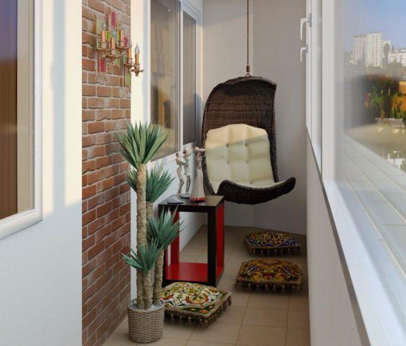 Балкон с подвесным креслом