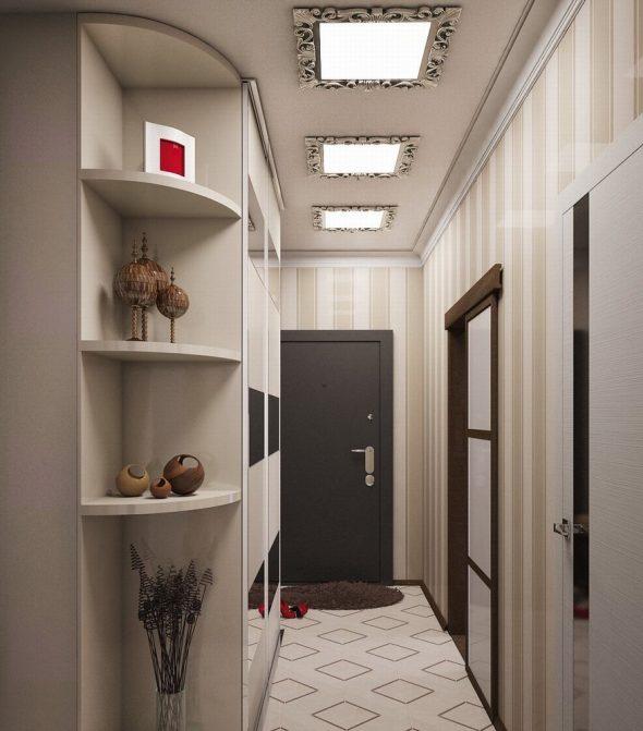 стильная прихожая в узкий коридор