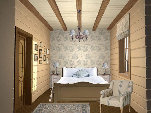 Спальня, отделанная вагонкой