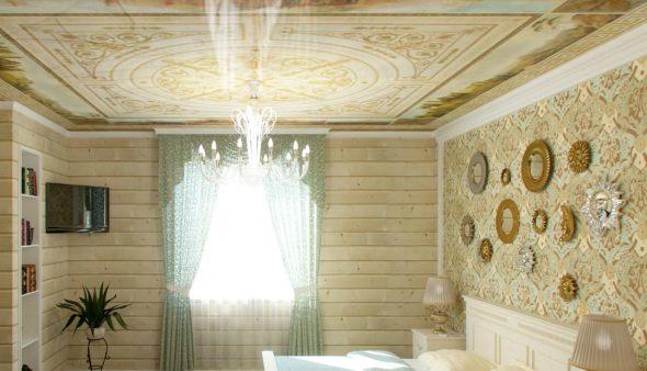 Уютная комната, оформленная вагонкой и обоями