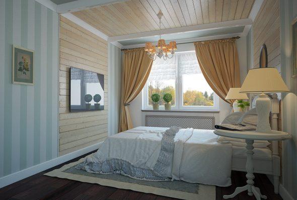 Внутреннее оформление спальни вагонкой