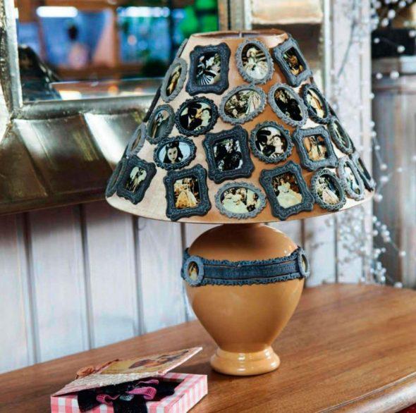 Декор абажура настольной лампы фотографиями
