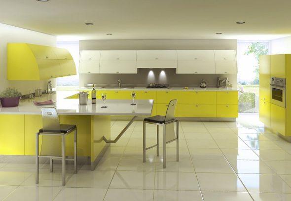 Светло-жёлтая кухня в белом интерьере
