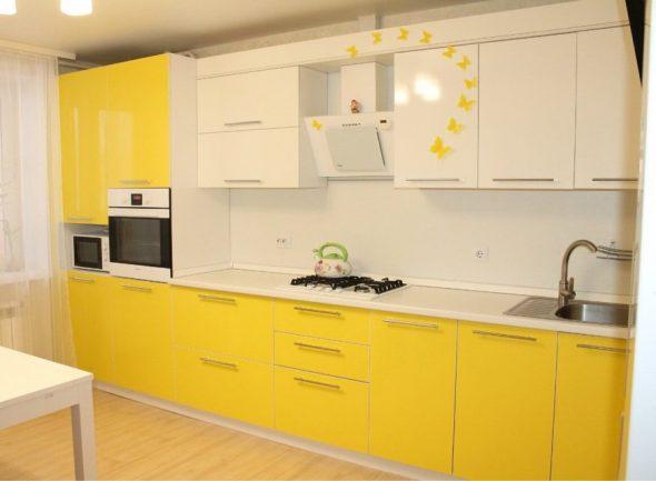 Жёлто-белый кухонный гарнитур