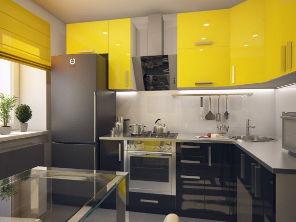 Жёлто-чёрная глянцевая кухня