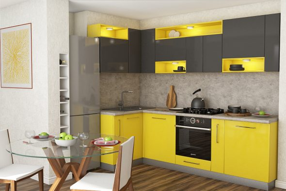 Жёлто-серая кухня