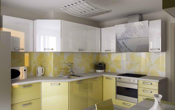 Жёлто-белая кухня