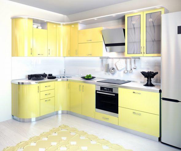 Светло-жёлтая кухня с белами стенами