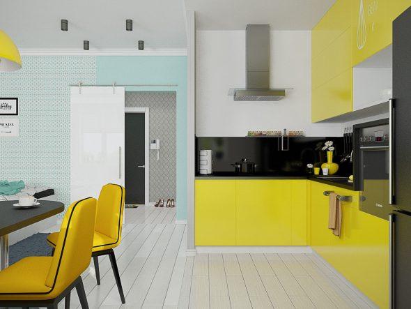 Жёлтая кухня и жёлтые стулья