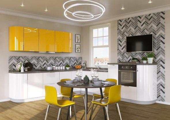 Жёлтая кухня и серо-белые стены