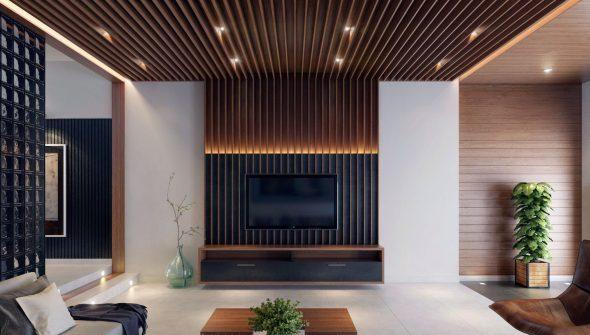 Деревянные рейки в интерьере гостиной