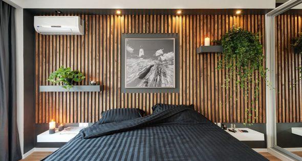 Декорирование стен деревянными рейками