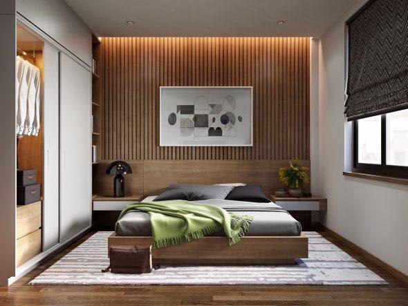 Деревянные рейки в интерьере спальни