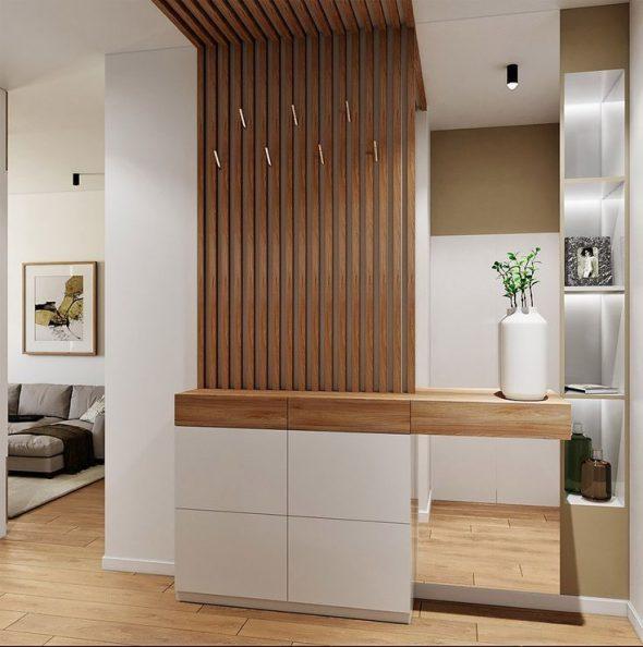 Декоративные элементы из деревянной рейки в интерьере