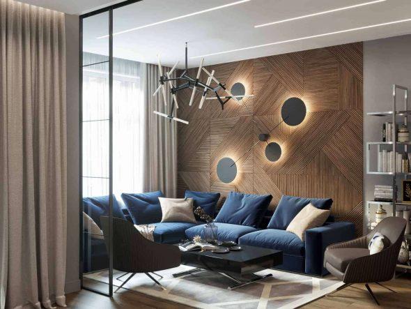Модульное оформление стен деревянными рейками