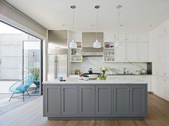 Кухня в сером и белом цвете