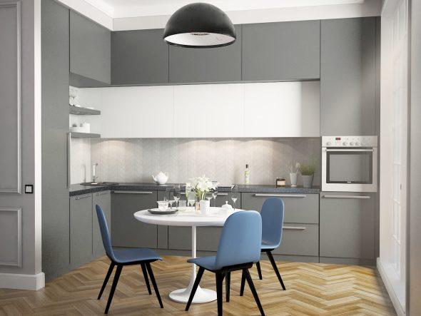Кухня в серых и голубых цветах