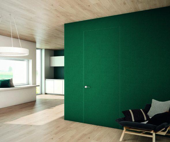 Оформление двери в зелёном цвете