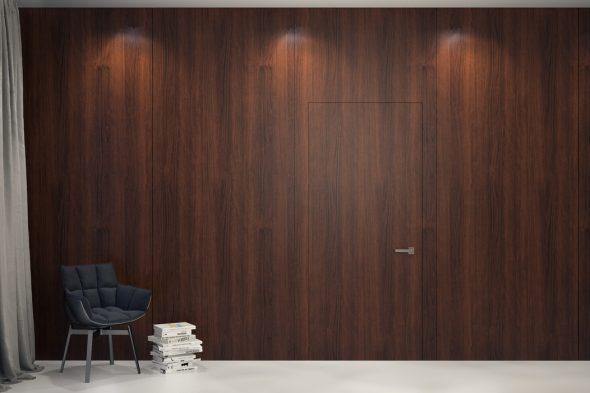Сочетание двери без наличников со стеновыми панелями