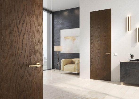 Двери без наличников с деревянной текстурой