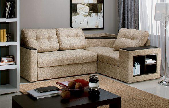 Бежевый угловой диван в интерьере