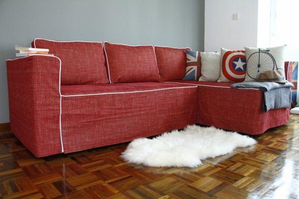 Угловой диван со съемными чехлами