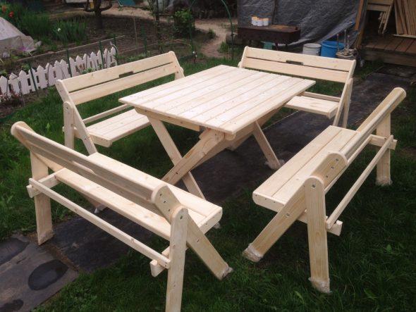 Комплект складной мебели со скамейками на 8–10 человек