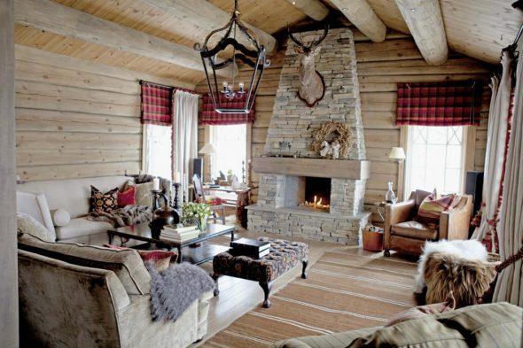 Интерьер деревянного дома в норвежском стиле