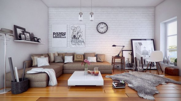Декор над диваном в стиле сканди