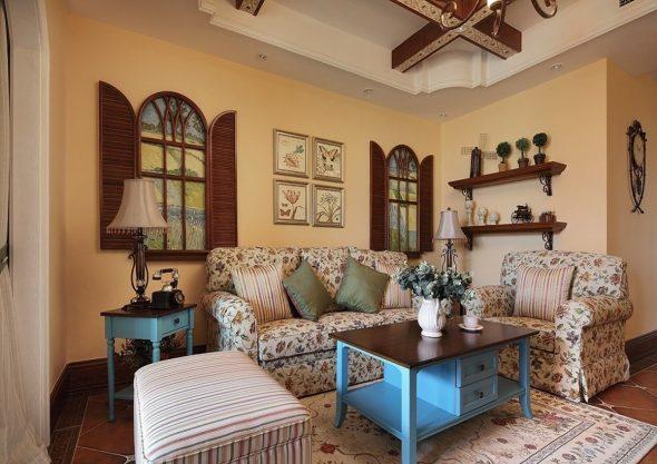 Интерьер гостиной в стиле Американский Кантри