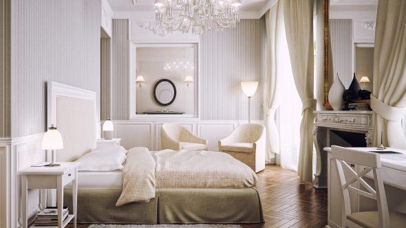 Классическая спальня в серых и песочных тонах