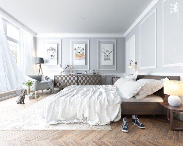 Светлая спальня в пастельных голубых оттенках