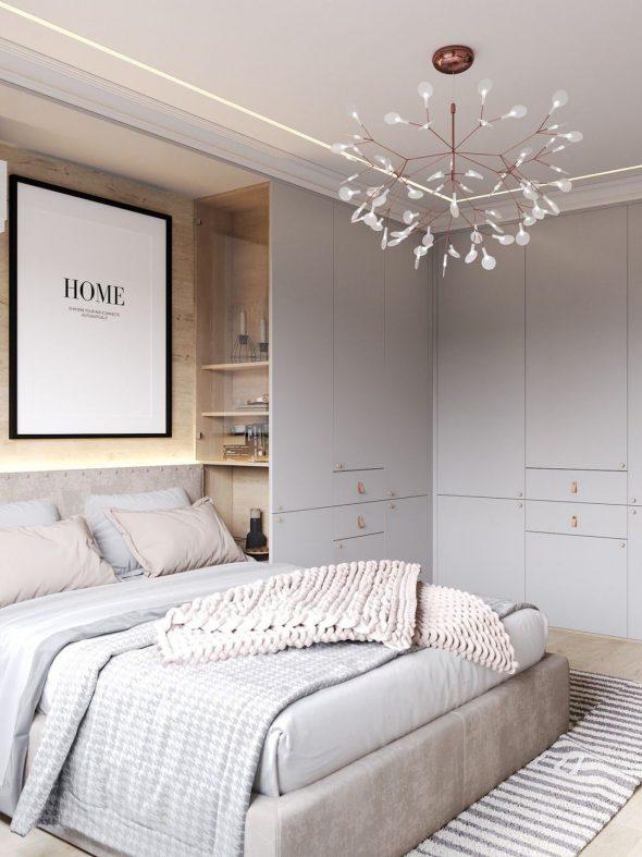 Серо-фиолетовый оттенок спальни
