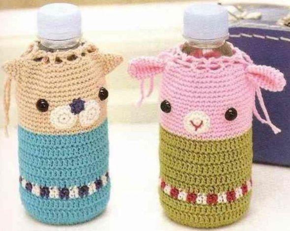 Вязаный декор на бутылках