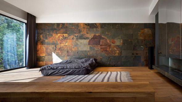Отделка спальни натуральным камнем