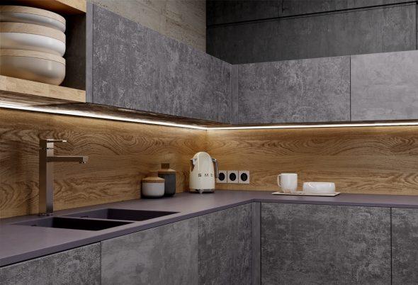 Отделка кухонных фасадов каменным шпоном