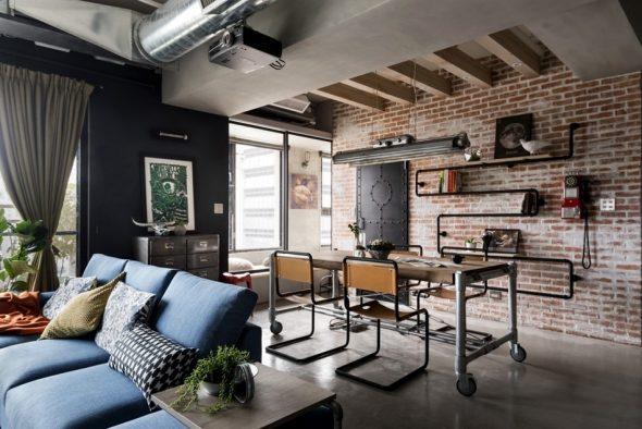 Оформление гостиной в стиле индастриал