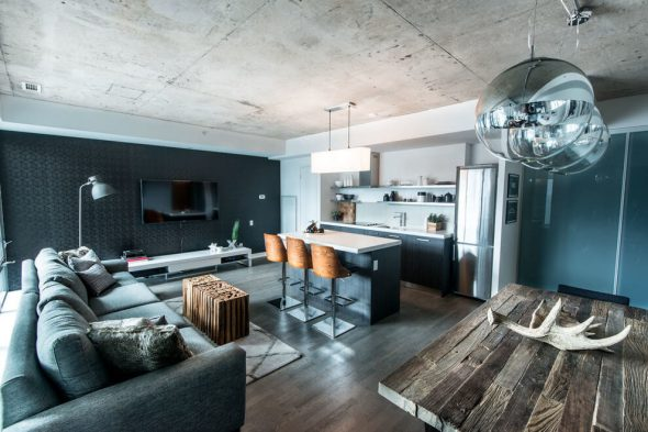 Оформление комнаты в стиле индастриал