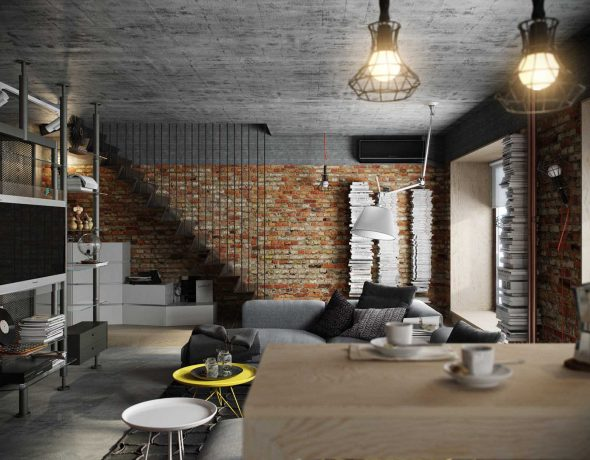 Необычный интерьер гостиной в стиле индастриал-лофт
