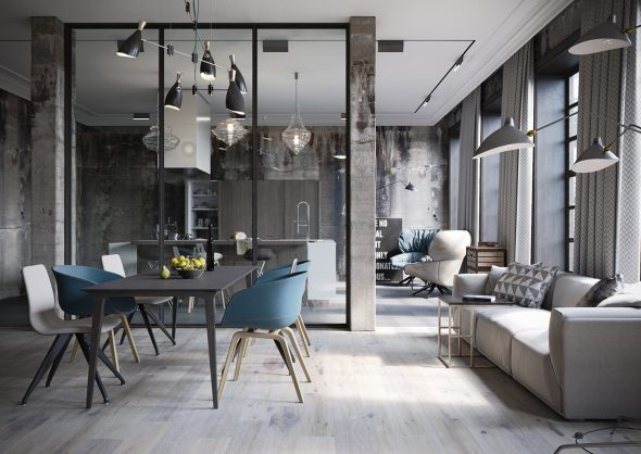 Гостиная в индустриальном стиле
