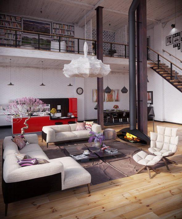 Оформление гостиной в двухуровневой квартире
